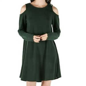 Forest Green Long Sleeve Cold Shoulder Midi Dress